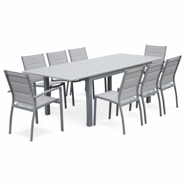 ALICE'S GARDEN Salon de jardin Chicago 8 places table à rallonge extensible 175/245cm alu gris textilène gris clair
