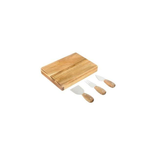 Planche à découper avec 3 couteaux à fromages - 27 x 20,5 x 4,5 cm - Acacia - Marron