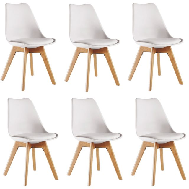 home design international lot de 6 chaises scandinaves blanches lorenzo pas cher achat