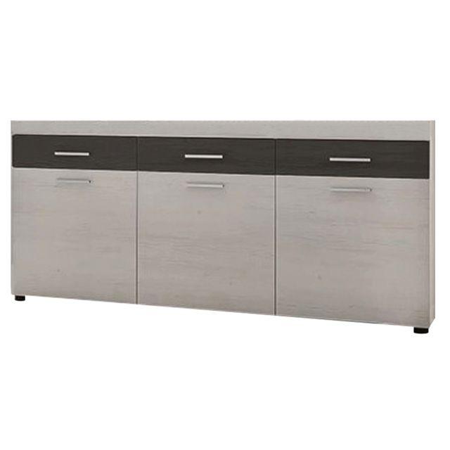 MENZZO Buffet 3 tiroirs et 3 portes Sardou Bois Gris et Blanc