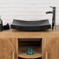 Wanda Collection - Grande Vasque 50cm Noir à poser rectangle en marbre Genes poli