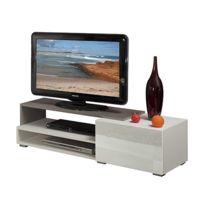- Meuble tv 1 tiroir blanc taupe 120 cm