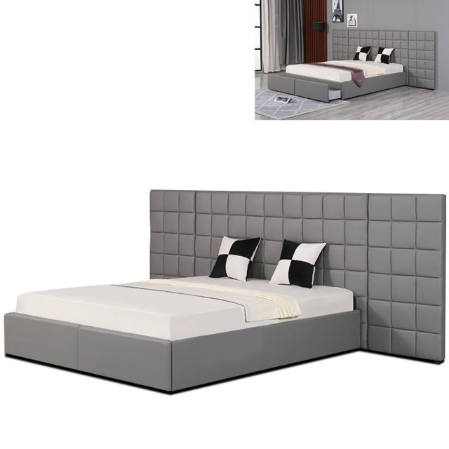 meubler design lit avec grande t te de lit king gris. Black Bedroom Furniture Sets. Home Design Ideas