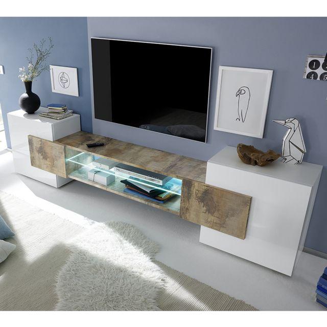 Kasalinea   Meuble Tv Moderne Blanc Laqué Brillant Et Couleur Bois .