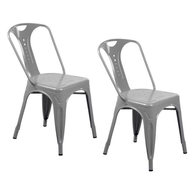 zons tolix chaise industrielle empilable gris 42x47xh78cm pas cher achat vente chaises. Black Bedroom Furniture Sets. Home Design Ideas