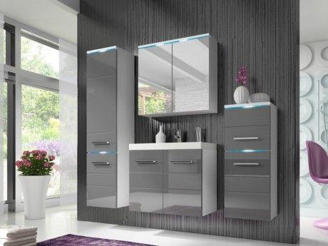 Shower Design Ensemble Clemence à leds - meubles de salle de bain - laqué gris