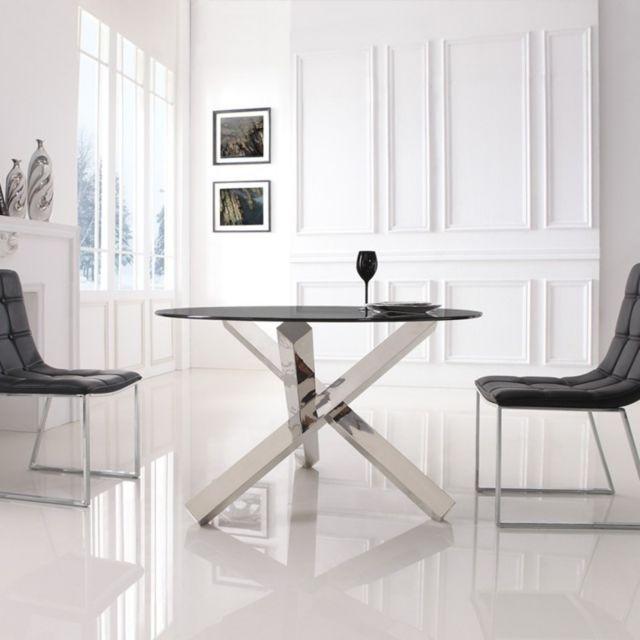 Meubler Design Table à manger ronde en verre transparent Elia
