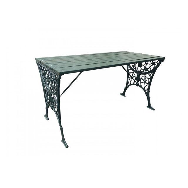 Générique Table bois massif et pieds fer forgé vert