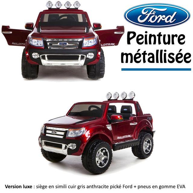 ford 4x4 voiture quad lectrique enfant peinture m tallis e 2 places 12 v rouge version luxe. Black Bedroom Furniture Sets. Home Design Ideas