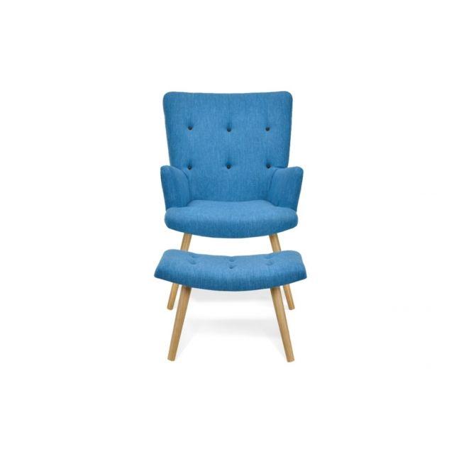 Remarquable Fauteuil scandinave + repose-pieds bleu canard