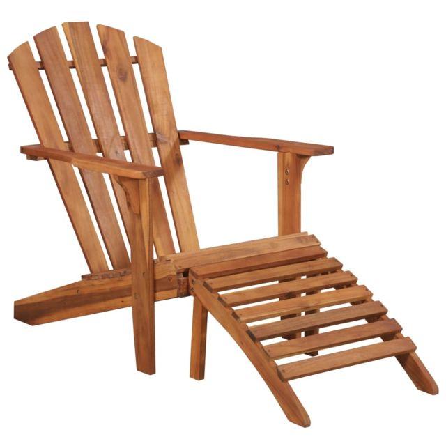 Vidaxl Chaise de jardin Adirondack et repose-pied Bois d'acacia massif | Brun - Sièges d'extérieur - Meubles de jardin | Brun |