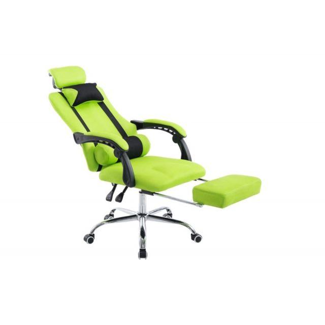 Decoshop26 fauteuil de bureau ergonomique avec repose pieds extensible appui t te vert - Fauteuil de bureau avec appui tete ...