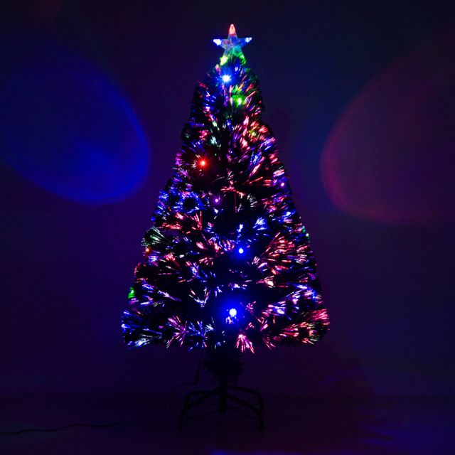 e2fc802772d HOMCOM - Sapin de Noël artificiel lumineux fibre optique LED multicolore +  support pied Ø 60
