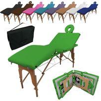 VIVEZEN - Table de massage pliante 4 zones en bois avec panneau Reiki + accessoires et housse de transport