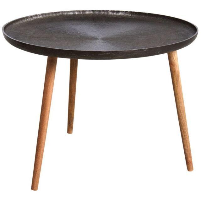 AUBRY GASPARD Table ronde métal zinc antique et bois