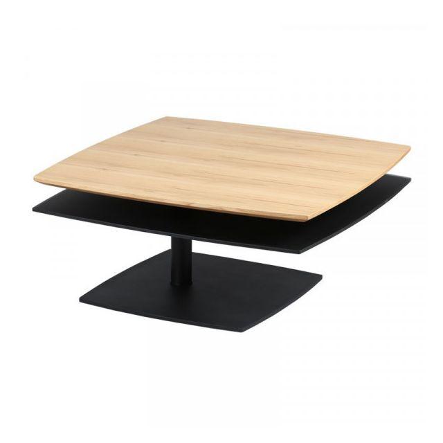 Dansmamaison Table basse Bois/Noir - Famb - L 85 x l 85 x H 40 cm