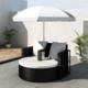 Vidaxl - Canapé de 2 places rond noir avec le parasol
