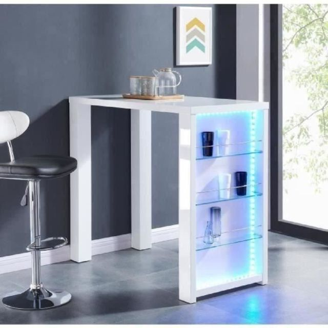 MANGE-DEBOUT - TABLE DE BAR - TABLE HAUTE FLASH Table bar avec LED de 4 a 6 personnes style contemporain blanc laqué bri