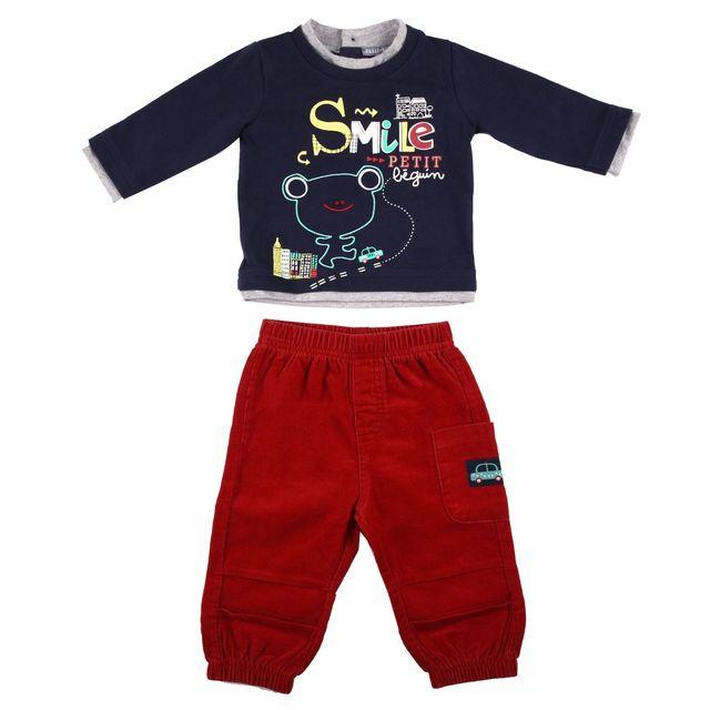 6b2cba3a67088 Petit Beguin - Ensemble bébé garçon Tshirt + Pantalon Titouan - Taille - 9  mois (