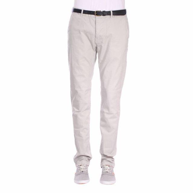 09876806ef425 Scotch And Soda - Pantalon Chino Scotch   Soda Classic Garment en coton  stretch gris clair
