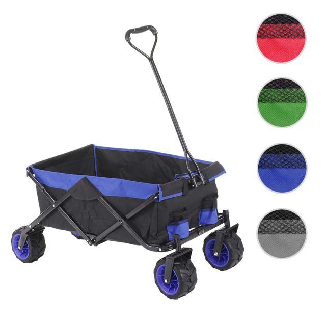 Mendler Chariot pliable Hwc-e62, charette à bras, pneus tout terrain ~ sans recouvrement noir/bleu