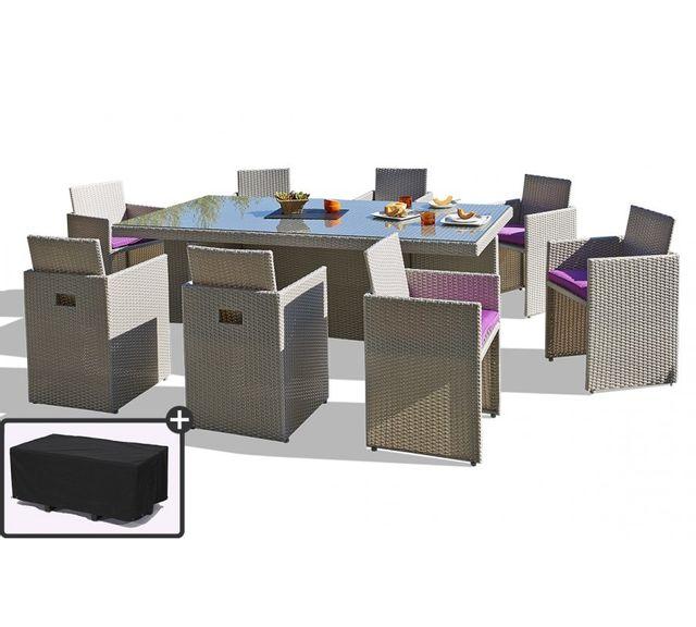 Dcb Garden - Salon de Jardin avec 8 fauteuils encastrables et housse ...