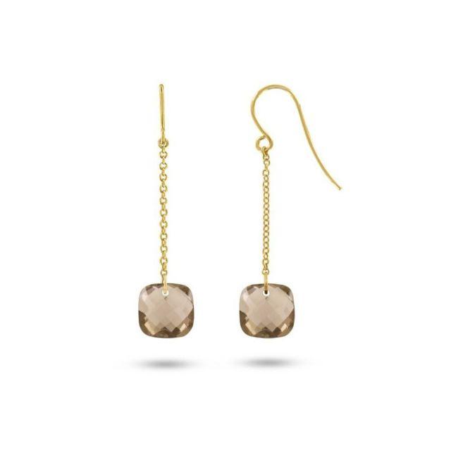 Tousmesbijoux boucles doreilles pendantes or jaune 75000 et quartz fumés taille coussin