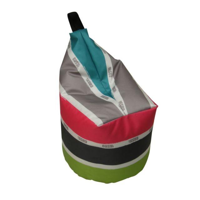 Pouf minisit Caracas Ø 40 x H.45 cm pétrole. Dimensions : Ø 40 x H.45 cm. Coloris : rayé multicolor