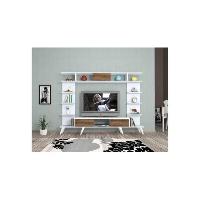 Homemania Meuble Tv Pan Moderne Murale - avec Portes, Étagères - pour Salon - Blanc, Chêne en Bois, 180 x 35 x 135 cm