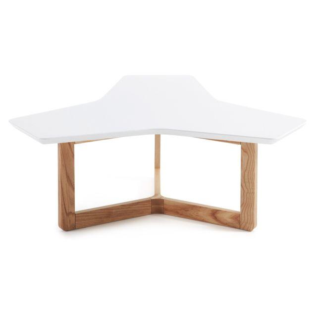 Kavehome Table basse Treffles 95 cm, frene et blanc