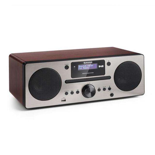 AUNA Harvard Micro chaîne DAB+ tuner radio FM lecteur CD Bluetooth USB -marron