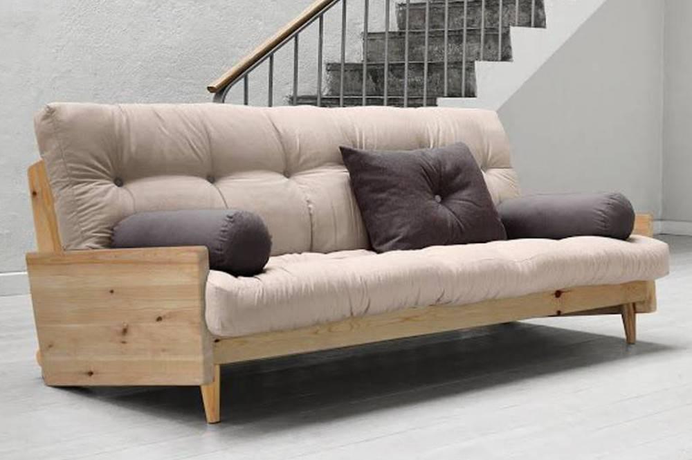 Canapé 3/4 places convertible Indie style scandinave matelas futon couchage 130 190cm