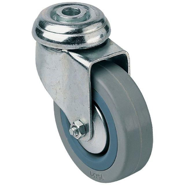 Roulette à oeil pivotante caoutchouc noir diamètre 100mm charge 70kg