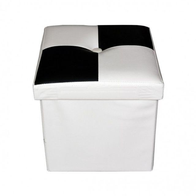 Mobili Rebecca - Pouffe Coffre de Rangement Noir Blanc Faux Cuir Moderne  Chambre à Coucher Salon 96a0e60c571a