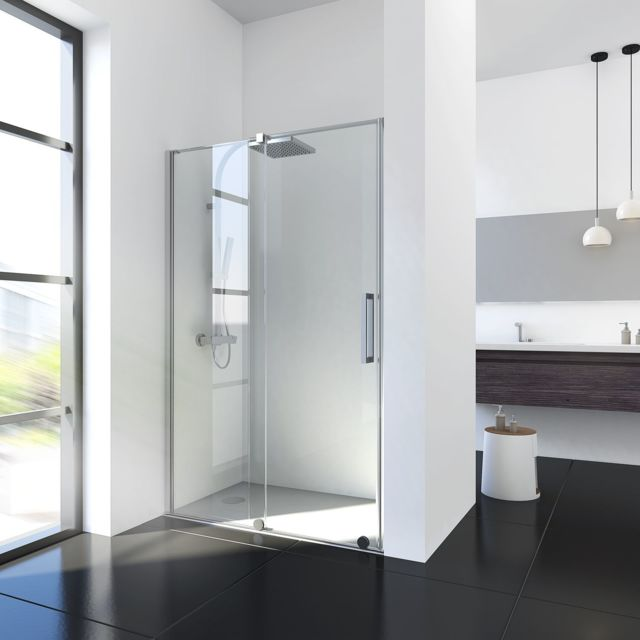 Schulte porte de douche coulissante 140 x 200 cm verre transparent avec roulement billes - Porte coulissante douche 140 ...