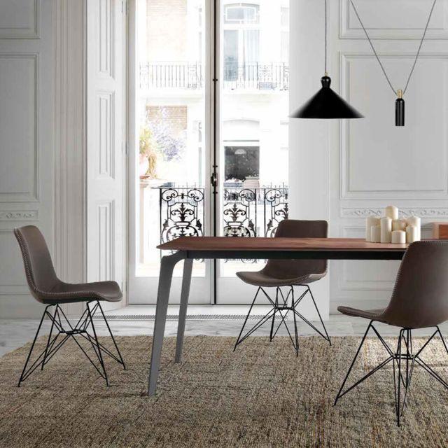 Nouvomeuble Table à manger couleur noyer et métal noir Artemis