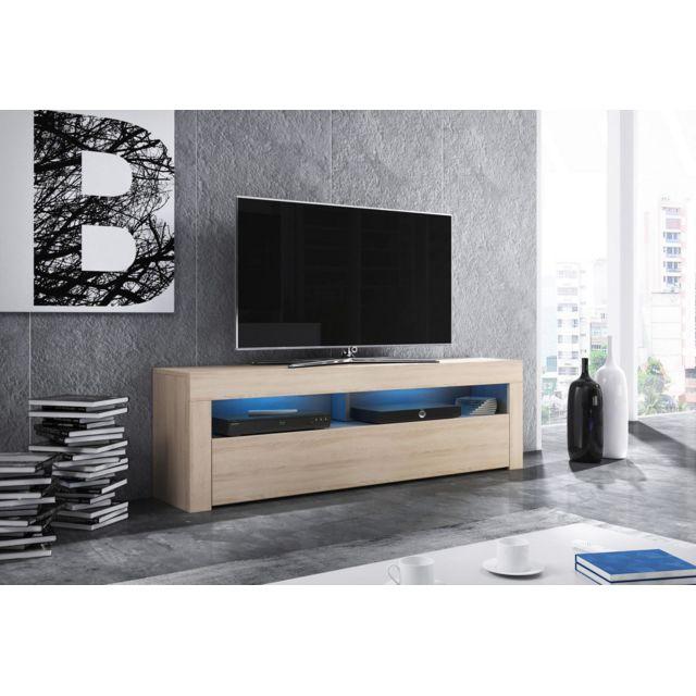 Vivaldi Mex Meuble Tv Design coloris chêne sonoma. Eclairage à la Led bleue