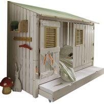 Comforium - Lit surélevé en pin massif coloris blanc 90x200 avec fenêtre style cabane