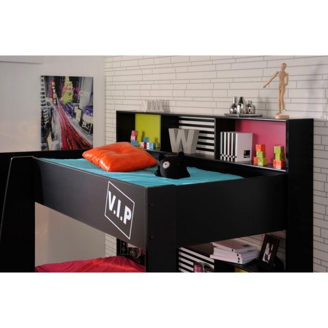 rocambolesk double vip lit superpose noir 90cm x 200cm pas cher achat vente lit enfant. Black Bedroom Furniture Sets. Home Design Ideas