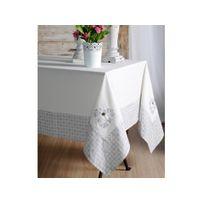 Stof - Nappe 100% coton broderie cœur bordure rosaces gris/blanc Manoir - 150x150cmNC