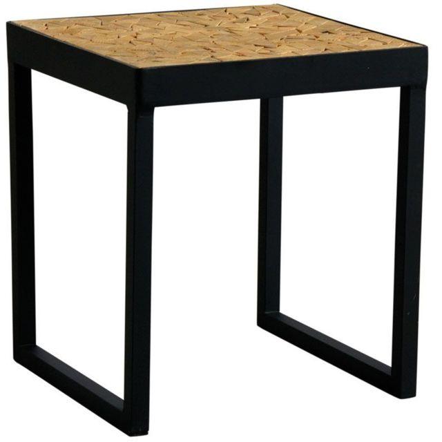 Aubry Gaspard Table Carree En Metal Plateau Mosaique En Bois