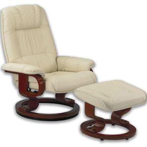 inside 75 excel fauteuil relax avec repose pieds cuir beige pas cher achat vente fauteuil. Black Bedroom Furniture Sets. Home Design Ideas