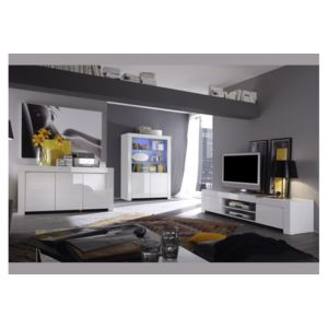 envie de meubles buffet blanc laqu 3 portes panamera. Black Bedroom Furniture Sets. Home Design Ideas