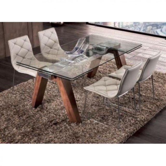 Inside 75 Table repas extensible Designa plateau en verre piétement bois massif teinté noyer