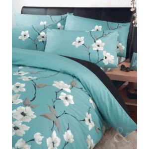 just contempo parure de lit en polycoton motif floral oriental poly coton aqua blue. Black Bedroom Furniture Sets. Home Design Ideas