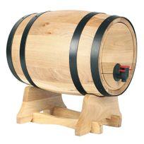 Secret De Gourmet - Tonneau à vin - Distributeur de vin - 5.5 Litres - Avec robinet et support