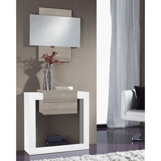 tousmesmeubles meuble dentre bois blancchne clair miroir neema