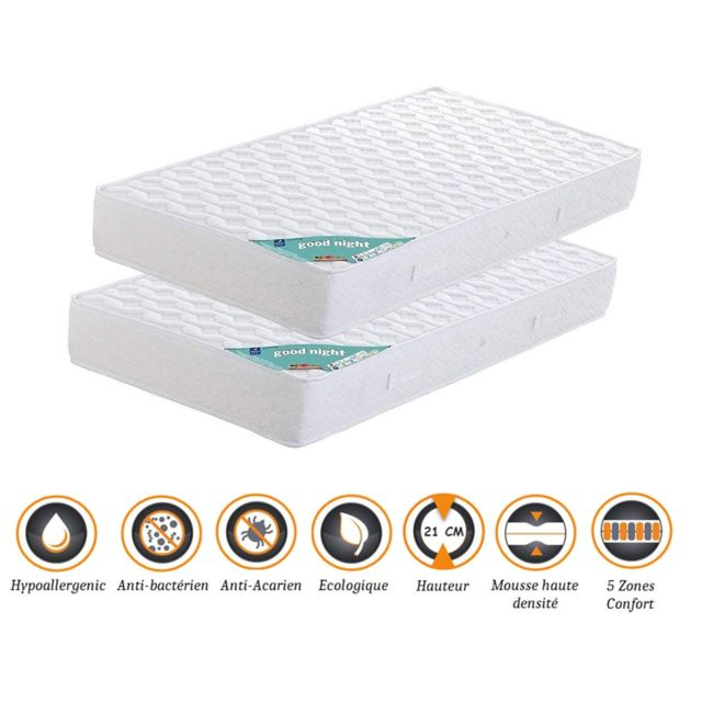 King Of Dreams Lot de 2 Matelas 90x200 x 21 cm - Ferme - Aertech+ 35 Kg/m3 Hr Haute Densité - Hypoallergénique - 5 Zones de Confort