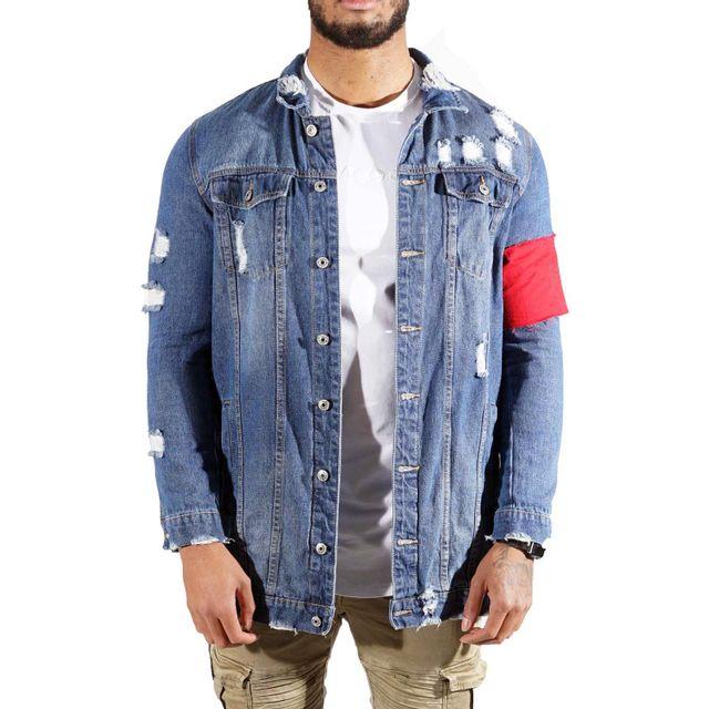 soldes project x veste en jean longue destroy homme paris 9993 taille s couleur blue pas. Black Bedroom Furniture Sets. Home Design Ideas