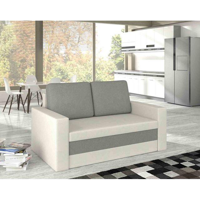 SOFAMOBILI Canapé convertible blanc et gris WAX 3